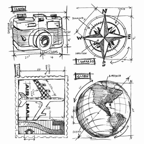 Tim Holtz: Red Rubber Stamps Set. Travel Blueprint