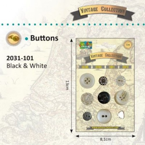 Vintage buttons blancos y negros - Vintage collection.