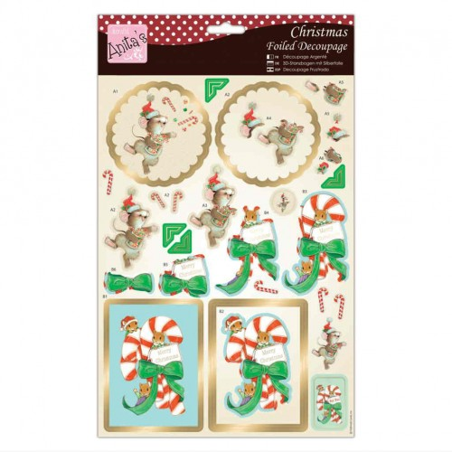 Kit Decoupage con Foil Anita`s - Candy Cane Critters