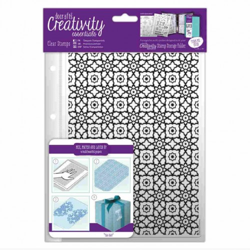 Docrafts A5 Clear Stamp - Moroccan Lattice.