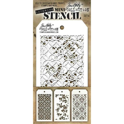 Kit Mini Stencil By Tim Holtz - Set 4