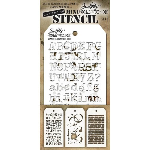 Kit Mini Stencil By Tim Holtz - Set 3