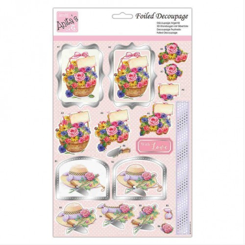 Kit Decoupage con Foil Anita`s - Basket Bouquet