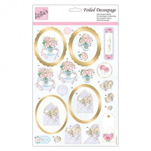 Kit Decoupage con Foil Anita`s - Roses At Tea Time