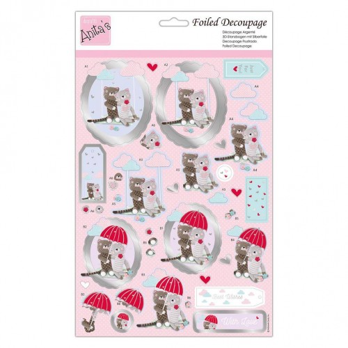 Kit Decoupage con Foil Anita`s - Cats In Love