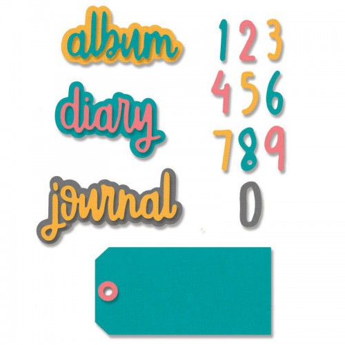 Kit de 9 troqueles Thinlits Journal phrases by Carrotcake