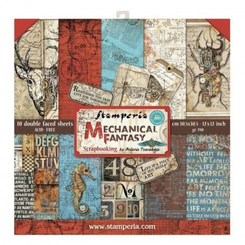 Kit de papeles de Scrapbooking Stamperia - Mechanical Fantasy by Antonis Tzanidakis