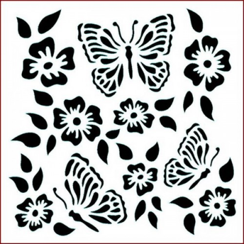 Stencil Imagination Crafts 15 x 15 Folk Butterfly Flower
