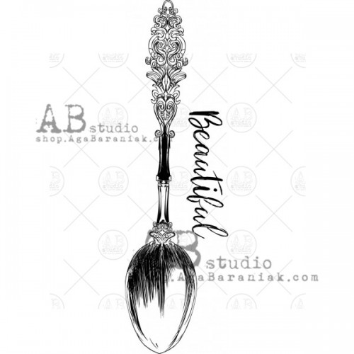 Sello de caucho Vintage spoon ID-318 - ABstudio