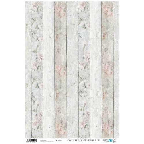 Papel Cartonaje Madera decapada floral 32 x 48.3 cm. Papers For You