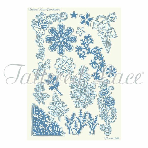 Plantilla para Pergamano Flowers - Tattered Lace