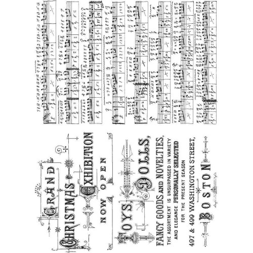 Kit de sellos de Tim Holtz - Music & Advert
