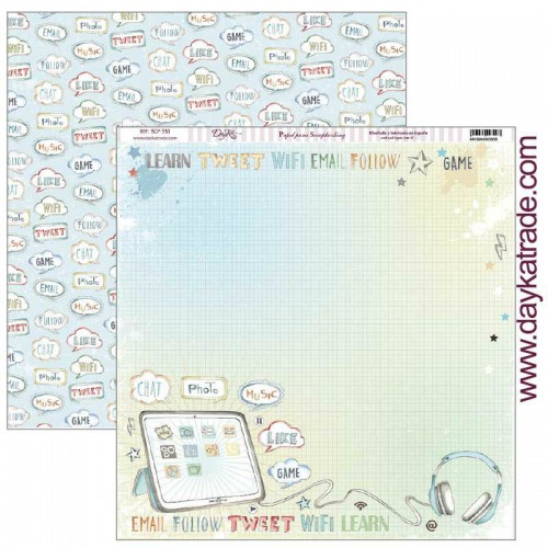 "Papel Scrap Dayka School - 330 ""Tablet con bocadillos"""