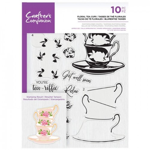 Kit de sellos Crafter's Companion Floral Tea Cups