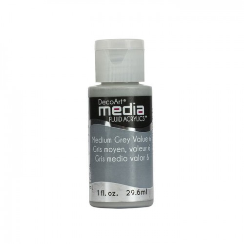 Decoart Media Fluid Acrylic Paint - Medium Grey Value 6