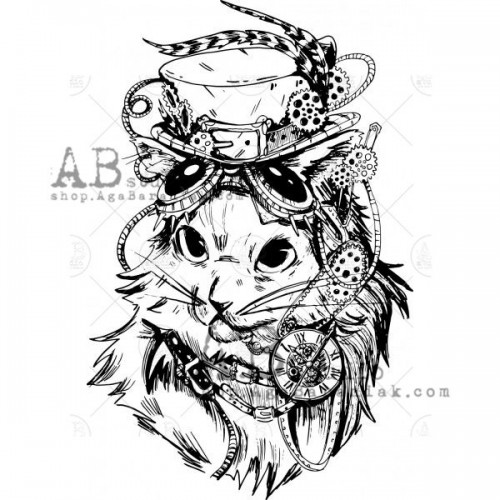 Sello de caucho ID-538 steampunk cat - ABstudio
