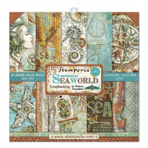 Kit de papeles de Scrapbooking Stamperia - Sea World by Antonis Tzanidakis