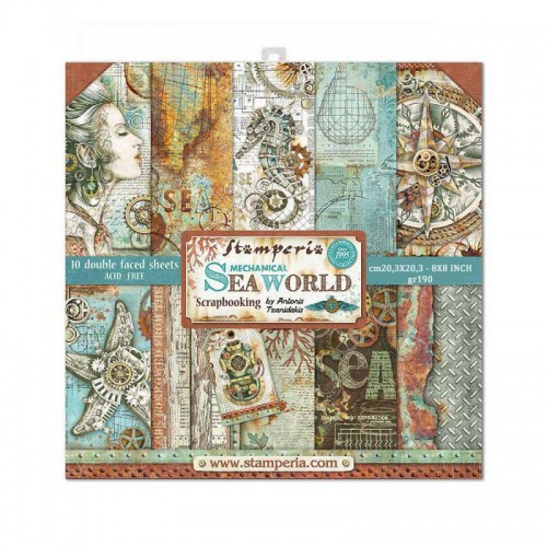 Kit de papeles de Scrapbooking 20 x 20 cm. Stamperia - Sea World by Antonis Tzanidakis