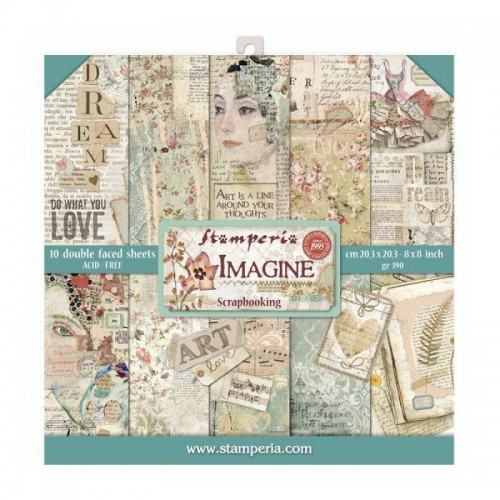 Kit de papeles de Scrapbooking 20 x 20 cm. Stamperia - Imagine
