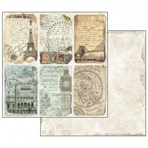Kit de papeles de Scrapbooking 20 x 20 cm. Stamperia - Around the World