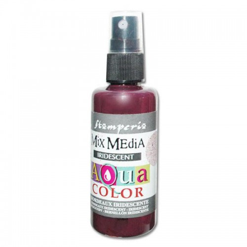 Tinta en Spray Aquacolor Stamperia. Burgundy perlado