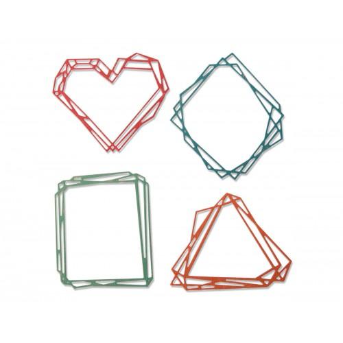Set 4 troqueles Sizzix THINLITS Geo frames by Tim Holtz