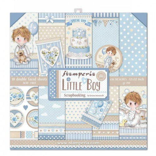 Kit de papeles 30 X 30 de Scrapbooking Stamperia - Little Boy