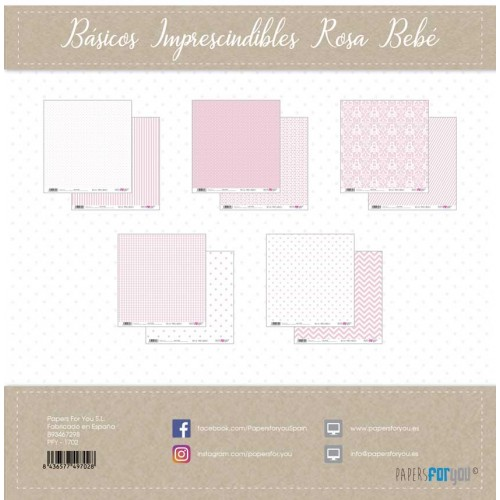 Kit 30 x 30 Papers for you - Básicos imprescindibles Rosa Bebé