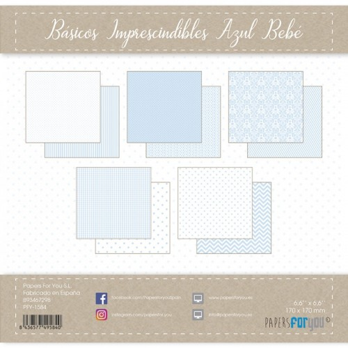 Kit 30 x 30 Papers for you - Básicos imprescindibles Azul Bebé