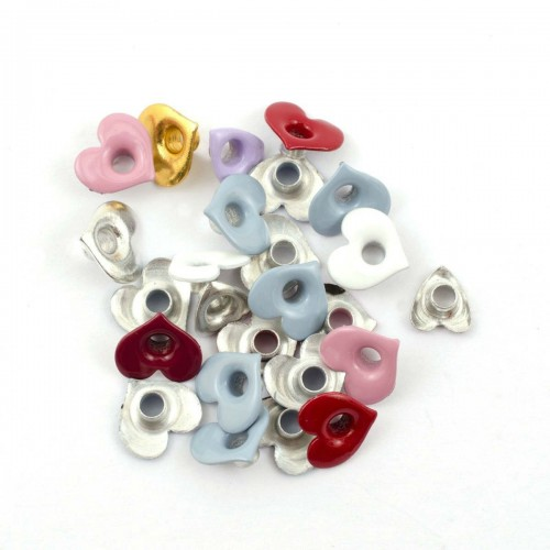 Kit de 25 eyelets corazon colores surtidos