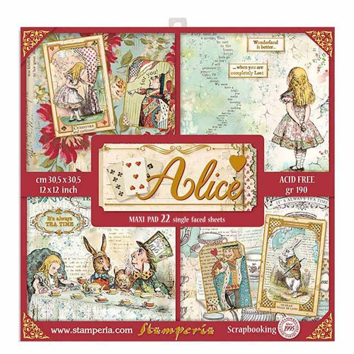 Kit de papeles de Scrapbooking XL de Stamperia - Alice Gold