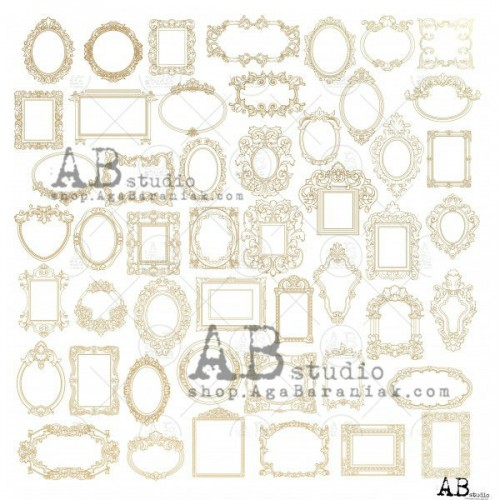 "ABStudio Gold scrapbooking paper ""Glam paper"" - Shiny little frames"