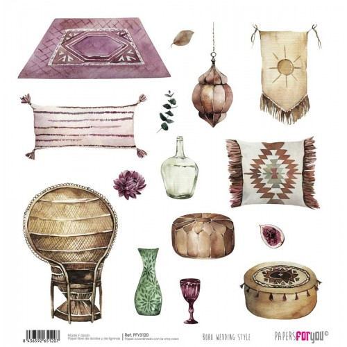 Kit Mini 17 x 17 cm. 24 Papeles Papers for you - Boho Wedding Style