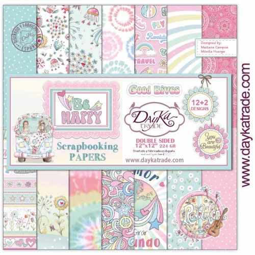 "Kit de papeles 30 x 30 ""Be Happy"" - Dayka Trade"