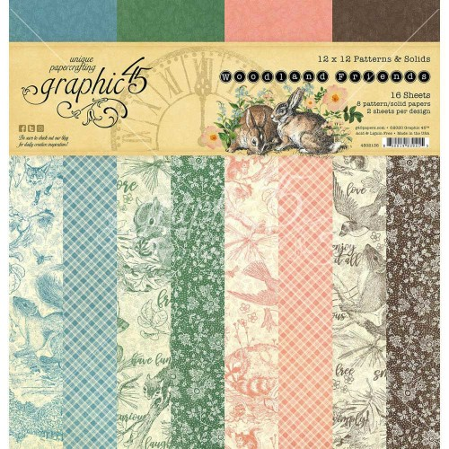 Graphic 45 Woodland Friends 30x30 - Patterns & Solids