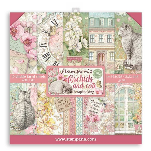 Kit de papeles 30 x 30 Stamperia - Orchid & Cats