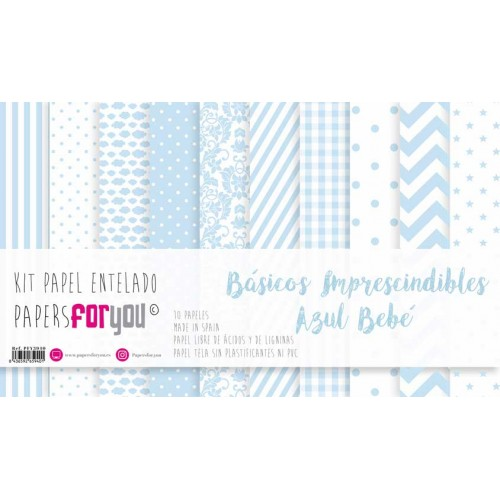 Kit Papeles scrap entelados 30 x 30 Papers for you - Azul Bebé