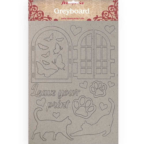 A4 Greyboard 2 mm. Leave Your Print, Orchids & Cats - Stamperia
