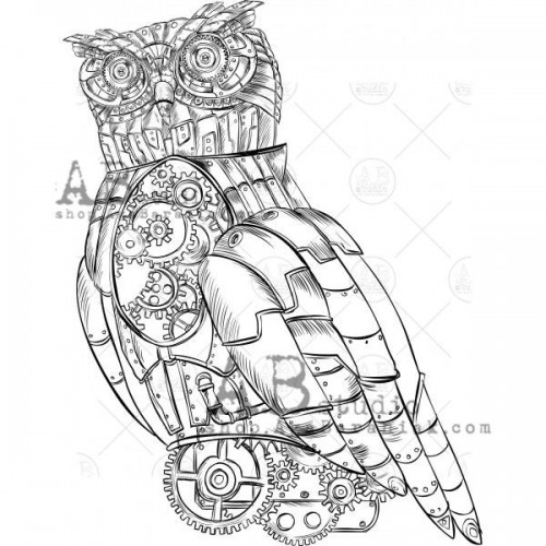 "Sello de caucho ID-1093 ""Steampunk Owl"" - ABstudio"
