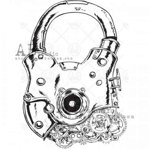 "Sello de caucho ID-889 ""vintage padlock"" - ABstudio"