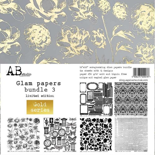 "Kit de papeles gold paper ""Glam papers bundle3"" AB Studio"
