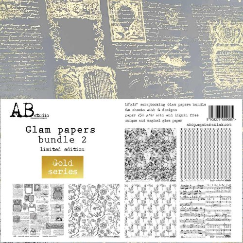 "Kit de papeles gold paper ""Glam papers bundle2"" AB Studio"