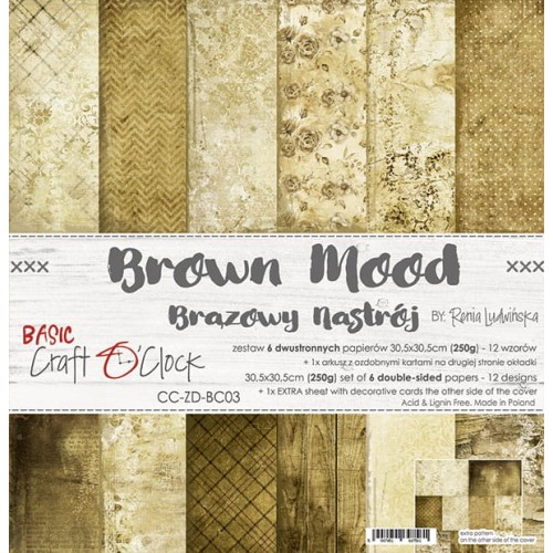 "Craft O'Clock Kit de papeles ""Brown Mood"" 30 x 30 cm."