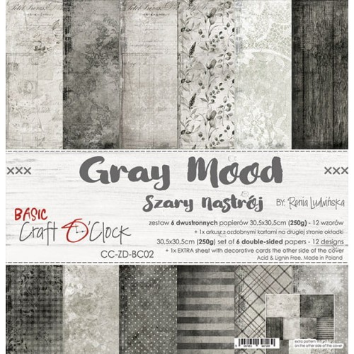 "Craft O'Clock Kit de papeles ""Gray Mood"" 30 x 30 cm."