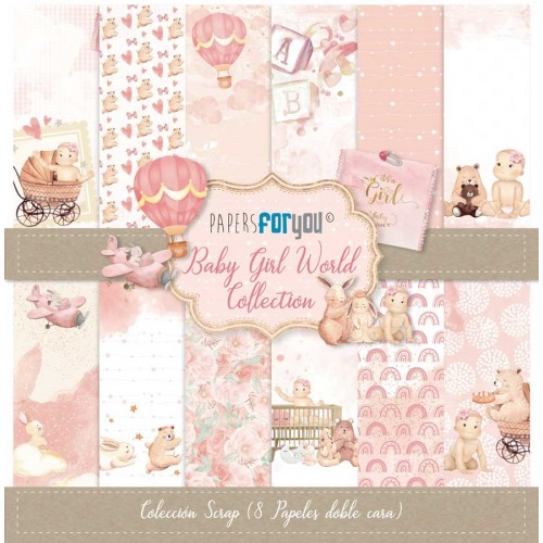 Kit 30 x 30 Papers for you - Baby Girl World