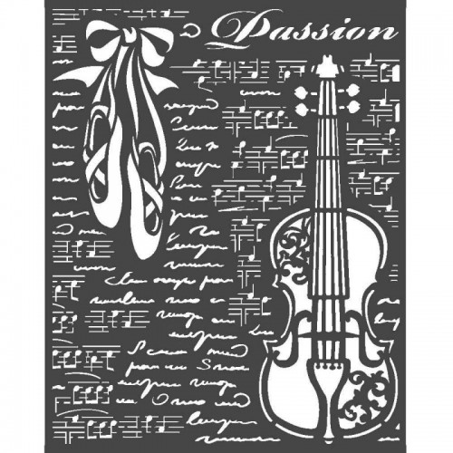 Stencil Stamperia Mix Media Art 25 x 20 cm. - Passion, Violin