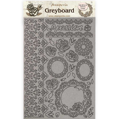 A4 Greyboard 2 mm. Lace & Roses, Passion - Stamperia