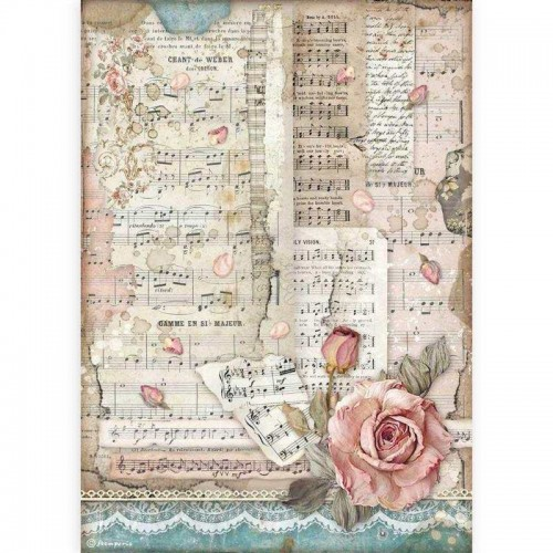 Papel de arroz A4 Passion, Roses & Music - Stamperia