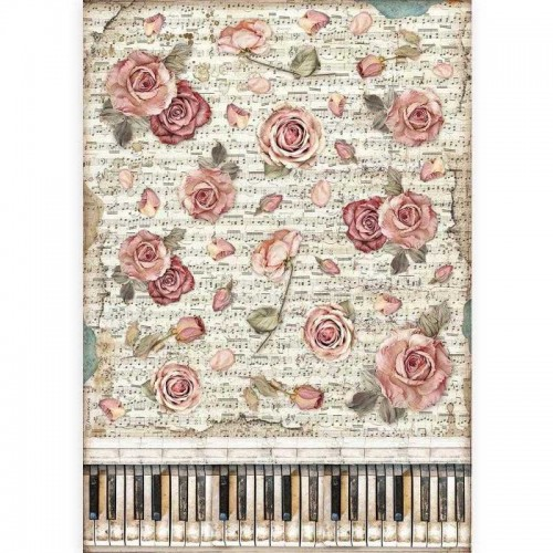 Papel de arroz DIN A-3 Stamperia - Passion Roses & Piano