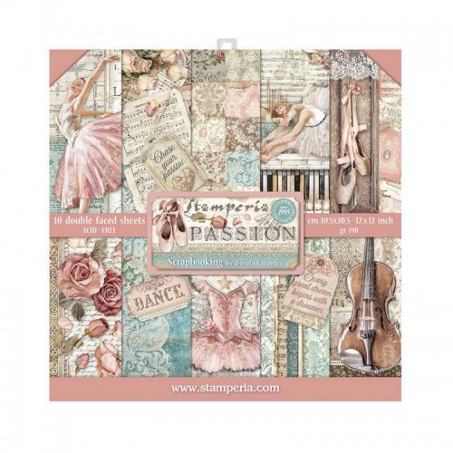 Kit de papeles de Scrapbooking 30 x 30 Stamperia - Passion